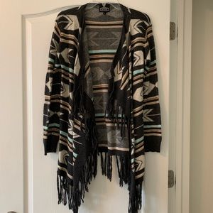 Angie Wool Blend Open Front Tribal Print Cardigan